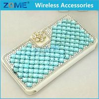 Wholesale Alibaba For Samsung G530 Handmade Luxury Crystal Blue Bling Bling White PU Leather Case