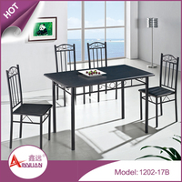 Modern dinning room table and chairs 1200mm black top and leg wood dinning table set