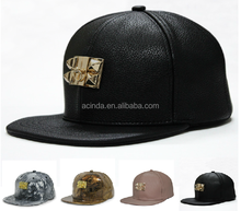 Black PU leather hat , embroidery designs snapback , customer design snapback capsnapback cap