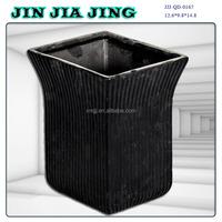 black square ceramic flower pot