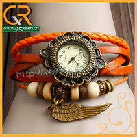 2013 Guangzhou NEW Wholesale Ethnic Style Braided Leather Ladies Hand Watch With Wing Pendant