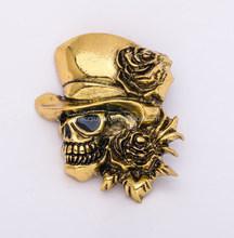 44*43mm Exquisite Fashion Top Grade Brooch Skull Brooch With Gentleman Hat &Flower Halloween Decoration