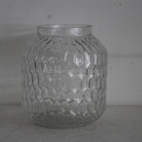 Latern beehive-carved glass /dotted clear glass vases