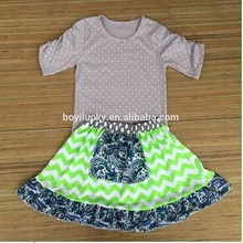 2015 grey polka dot top and ruffle dress wholesale clothing baby china baby girls clothing set boutique