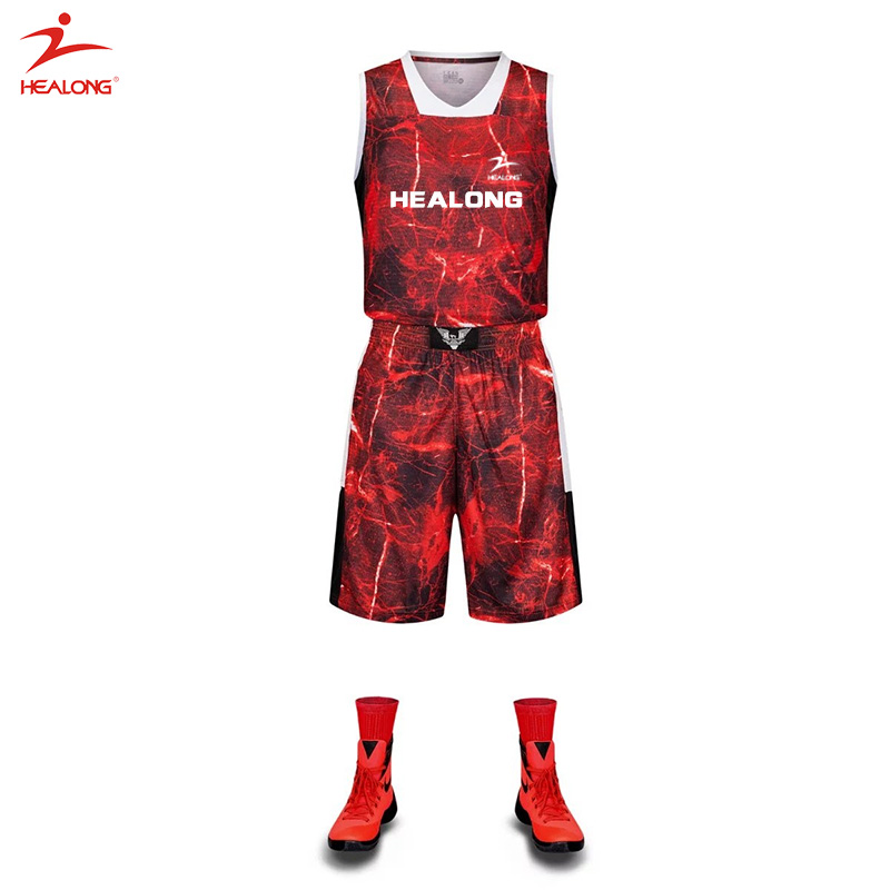 Custom Sublimated Blank Basketball Uniform Design Template Mesh Red ...