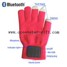 Touch Screen Bluetooth V3.0+EDR Talking Gloves Mobile Headset Speaker For Smart Phone