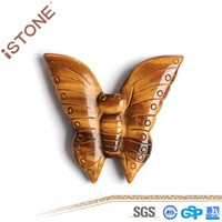 Hot Tiger Eye Figurines Natural Stone Butterfly Figurine For Reiki Decoration Free Shipping