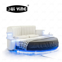 fancy italian leather round bed pay by escrowCY006