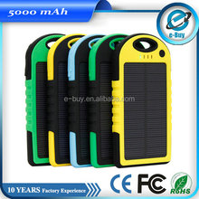 Waterproof 5000mah portable solar charger for cell phone