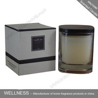 scented candle in square glass jar with wooden lid for gift