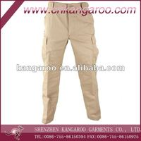Comfortable heavy durable cotton ripstop Multi bellow pockets Khaki cargo pants
