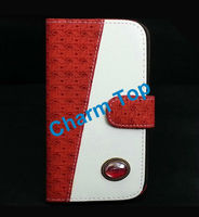 2013 Hot Sale Wallet Leather Case For iPhone 5 with a Gemstone