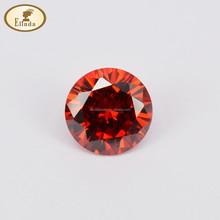 Round Brilliant Cut 12MM Garnet Color Synthetic CZ Gemstone