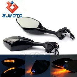 Amber+Blue LED Turn Signal Side Mirror Motorcycle Rearview Mirrors With Indicator Light Universal For Street Bikes GSX-R 600 750