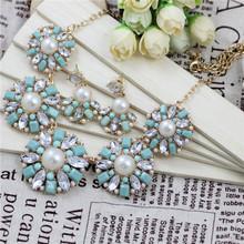 2014 collar de la joyería Declaración Luz Moda Flores redondo azul Set de proveedores de joyería