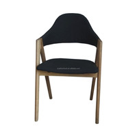 solid wood arm chair with fabric seat chair in dining room