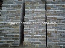 modern smooth face honey gold slate stacked ledge stone