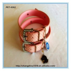 Wholesale leather dog collars with dog christmas ornament