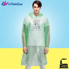 PE adults hooded disposable waterproof touring transparent creative raincoat/poncho