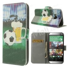Football & Full Glass Beer for HTC One M8 Leather Stand Case