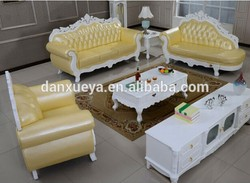 carved wood furniture german classical furniture leisure yellow leather sofa DXY-3048#