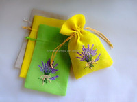 Lavender design embroidery handmade small mini cotton linen sachet bags gift bags jewelry bags with silk ribbon