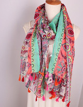Women Flower Scarf Shawls Wraps Hijabs Lime Color Scarf