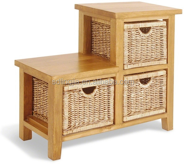 Wholesale White Wooden Storage Bathroom Cabinet With Wicker Basket Drawer Buy Bathroom Cabinet