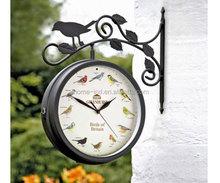 outdoor garden clock bird sound antique clock double sided station clock