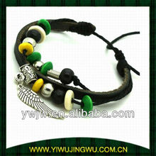 Wooden Bead & Leather Wing Charm Bracelet
