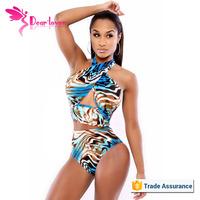 Colorful Ocean Print x x x Women with Animals Halter Teen Bikini Swimwear Photos