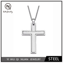 """Two-Piece Matte and Polished Cross Stainless Steel Pendant, 20"""""""