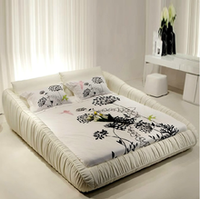 Modern style white king size leather bed