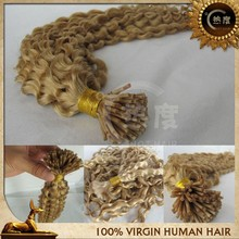 Wholesale i tip curly hair extensions color 613 i-tip hair extension