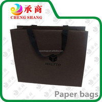 customized size famous brand black paper gift bag