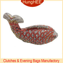Red and white Fish shaped crystal wedding clutch evening bags IF-HC2053