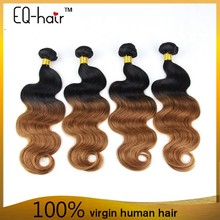 Wholesale factory price european hair extensions two tone ombre remy hair weaving ombre human hair