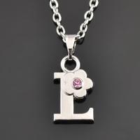 New Design Friendship Necklace Alphabet Letter L Pendant Necklace ,Rhinestone Letter Necklace