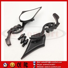 KCM344 For Honda CBR CBR600 900 929 954 1000RR Black Custom Skull Motorcycle Blade Mirror