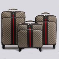 fashion Light Brown jacquard travel luggage three size