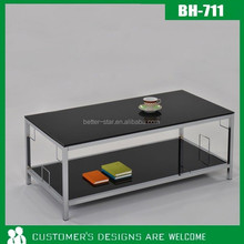 Taiwan Factory Direct Living room Metal Side Table with glass top Sofa end table powder coated OEM Available