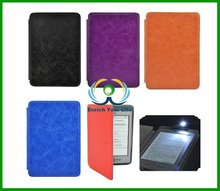 Ultra Thin Hard Back Ebook Leather Case Cover With Built-in LED Light For Amazon Kindle 4 / 5