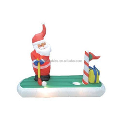 5 Foot Long Inflatable Santa Claus Playing Golf/inflatable decoration for Christmas