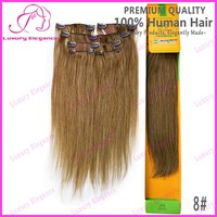 Cheap Straight Brown Color 100% Human Hair Clip In Hair Extension Wholesale