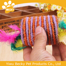 2015 hot sale cat toys elastic rope candy with feather pet products cat toys