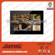new design digital photo frame with infrared remote control, touch screen bluetooth wifi business card 2012 digital photo frame