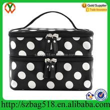 Black with White Dot Travel Toiletry Makeup Bag Organizer With Mirror