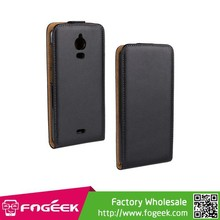 Brand New Magnetic Vertical Genuine Split Leather Flip Case for Wiko Wax
