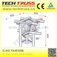 C40-TA5106 5-way cross apex down, length 600mm portable aluminum trusses corner for truss connecting
