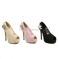12.5 cm lady sexy peep toe platform high heels multi color fish mouth shoes the diamond studded pumps dress shoes PQ3694
